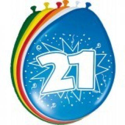 ballonnen 21 jaar 8 stuks