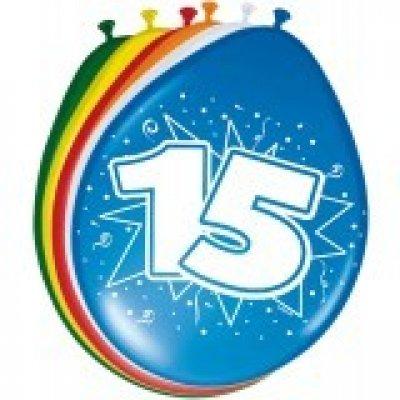 ballonnen 15 jaar 8 stuks