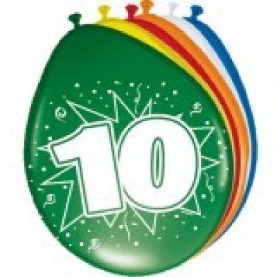 ballonnen 10 jaar 8 stuks
