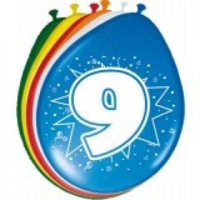 ballonnen 9 jaar 8 stuks