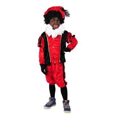 Piet velours rood/zwart maat 176