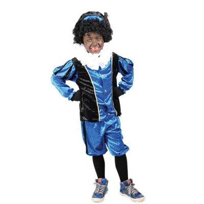 Piet velours blauw/zwart Maat 176