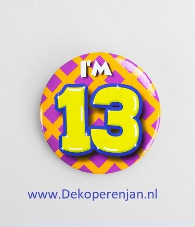 13 jaar button