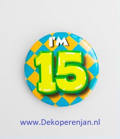 15 jaar button