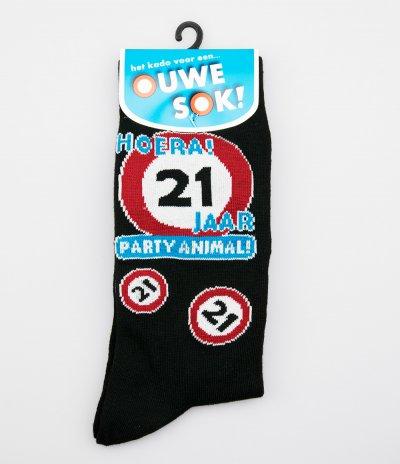 Sokken 21 jaar party animal! (one size)