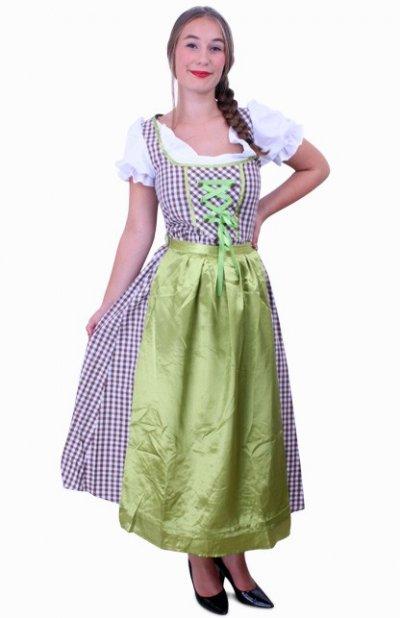 Tiroler jurk lang Wenzel bruin/wit Maat 44
