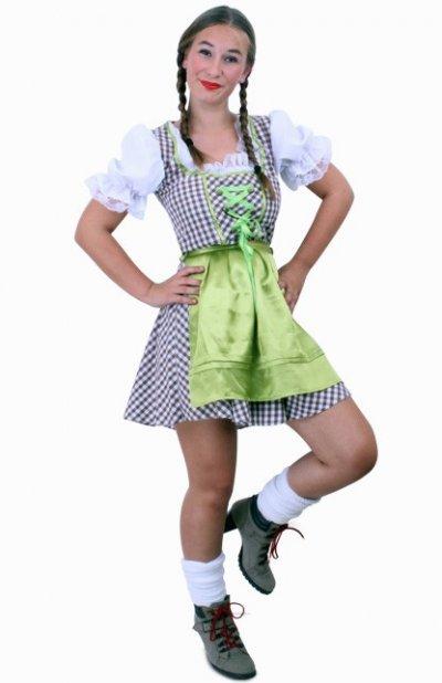 Tiroler jurk kort Wenzel bruin/wit Maat 44