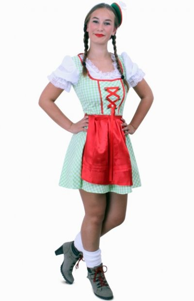 Tiroler jurk kort Sarah groen/wit ruitje, schortje rood Maat 44