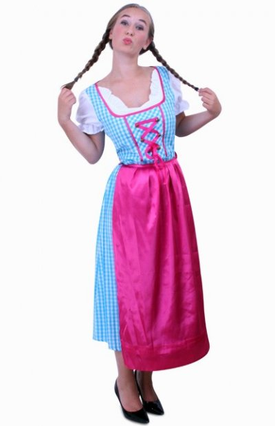 Tiroler jurk lang Anna blauw/wit ruitje, schortje pink Maat 44