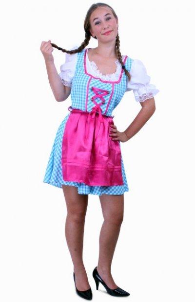 Tiroler jurk kort Anna blauw/wit ruitje, schortje pink Maat 44