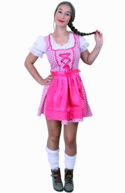 Tiroler jurk kort Lena pink/wit ruitje, schortje pink Maat 42