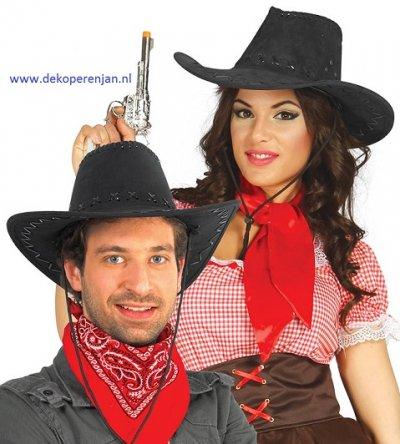 Zwarte leren cowboy hoed