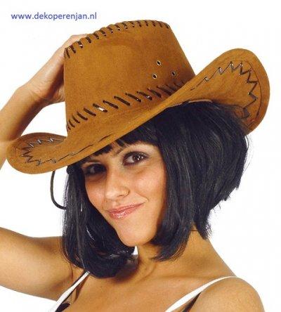 Bruine leren cowboy hoed