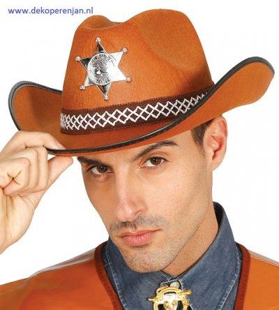Bruine vilt sheriff hoed