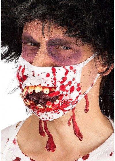 bloederig mondkapje met tanden