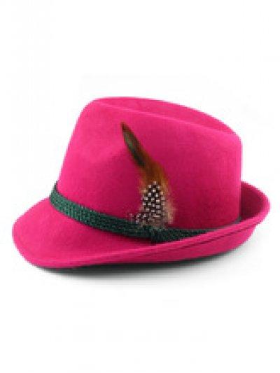 Tyrolean hoed deluxe roze met veer
