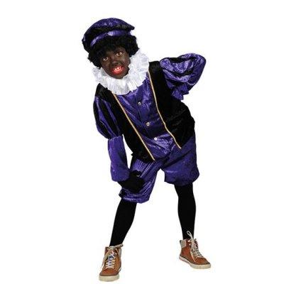 Piet velours paars/zwart Maat 176