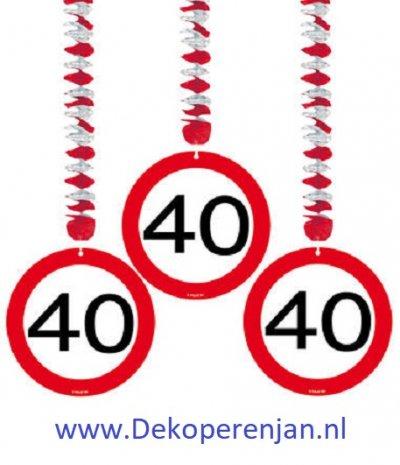 40 jaar verkeersbord hang deco