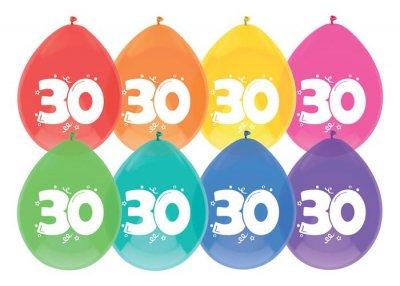 Ballonnen 30 jaar 8st 30cm