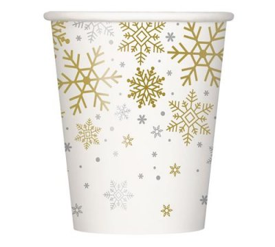 Bekers - Silver & Gold Holiday Snowflakes