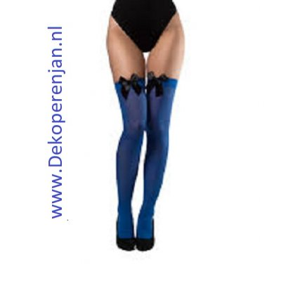 Blauwe kousen met zwarte strik