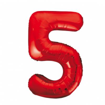 Folieballon 5 rood 86cm groot