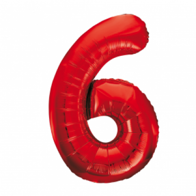 Folieballon 6 rood 86cm groot