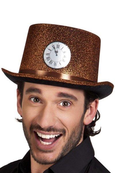 Hoge hoed koper glitter met klok