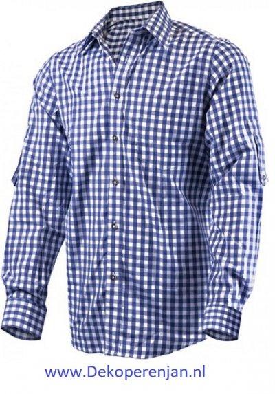 Luxe donkerblauw tiroler overhemd maat 2XL