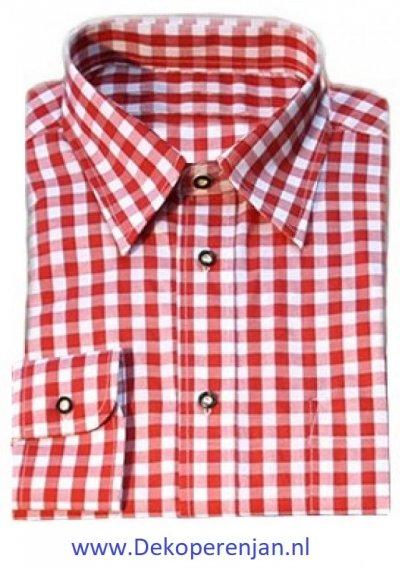 Luxe rode tiroler overhemd maat L