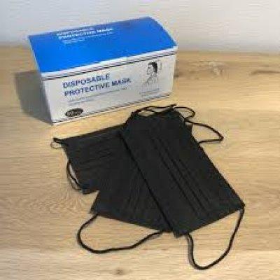Mondkapjes 3-laags 50 stuks Zwart in doos