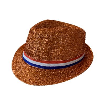 Oranje hoed met Rood/Wit/Blauw Lint