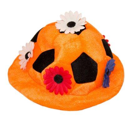 Oranje Pluche Hoed met Bloemen