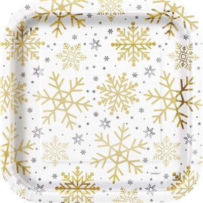 Plates - Silver & Gold Holiday Snowflakes groot