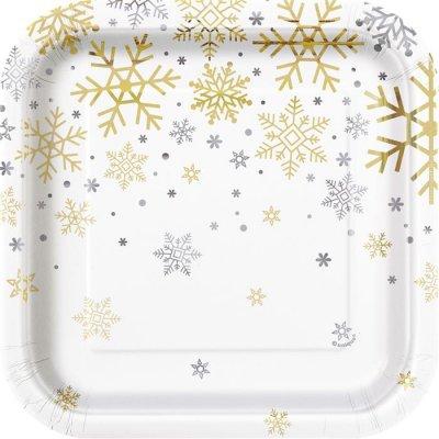 Plates - Silver & Gold Holiday Snowflakes klein