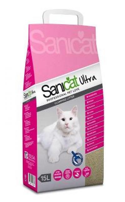 Sanicat kattenbakvulling ultra 15 L ( 2 voor 11,99)