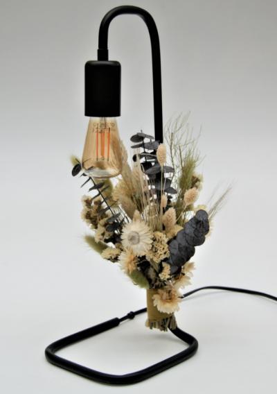 Tafellamp met droogbloemen naturel