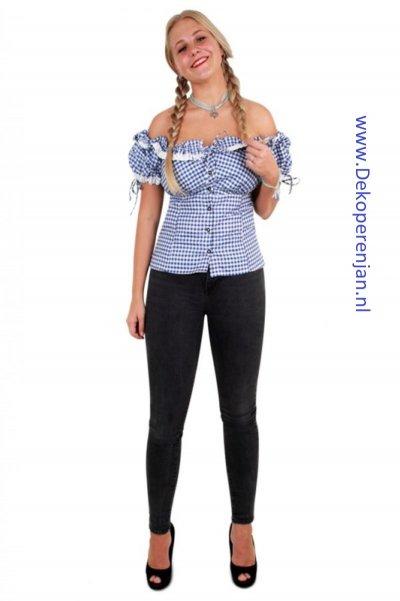 Tiroler blouse dames blauw/wit maat 40