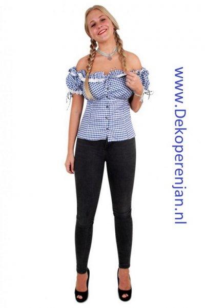 Tiroler blouse dames blauw/wit maat 42