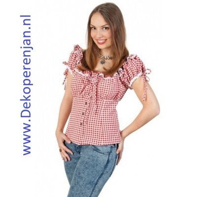 Tiroler blouse dames rood/wit maat 38