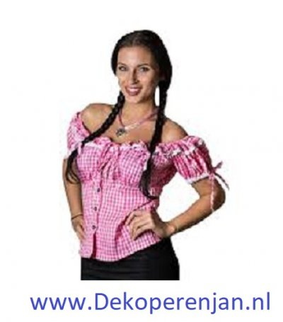 Tiroler blouse dames rose/wit maat 40