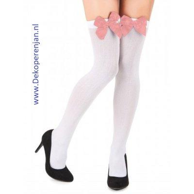 Witte kousen met rose strik
