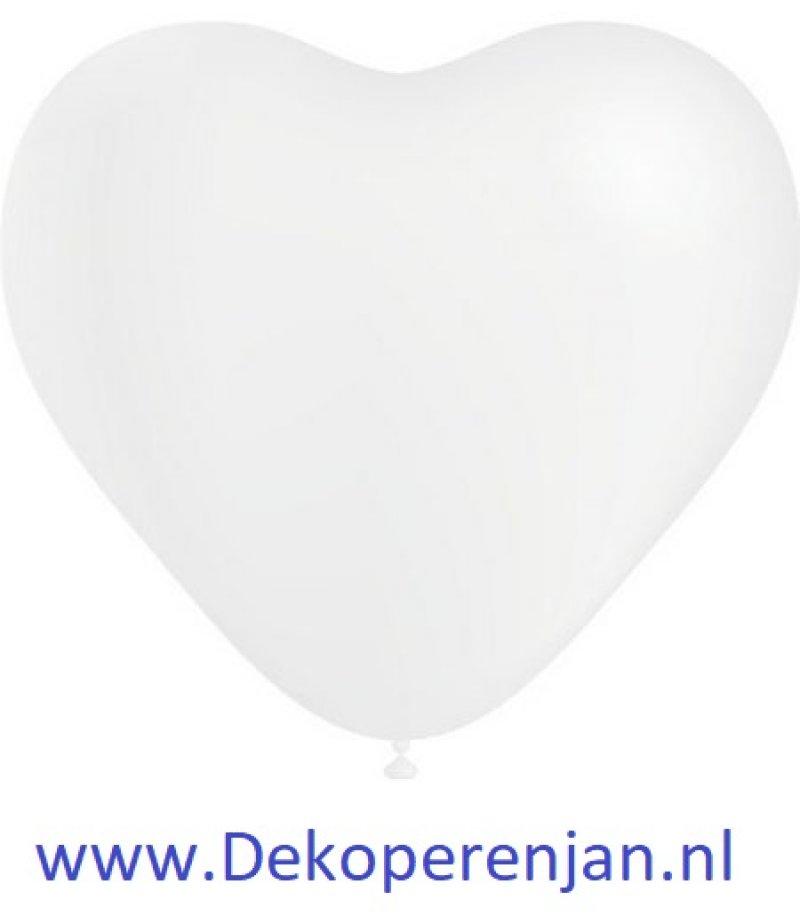 Hart ballonnen wit