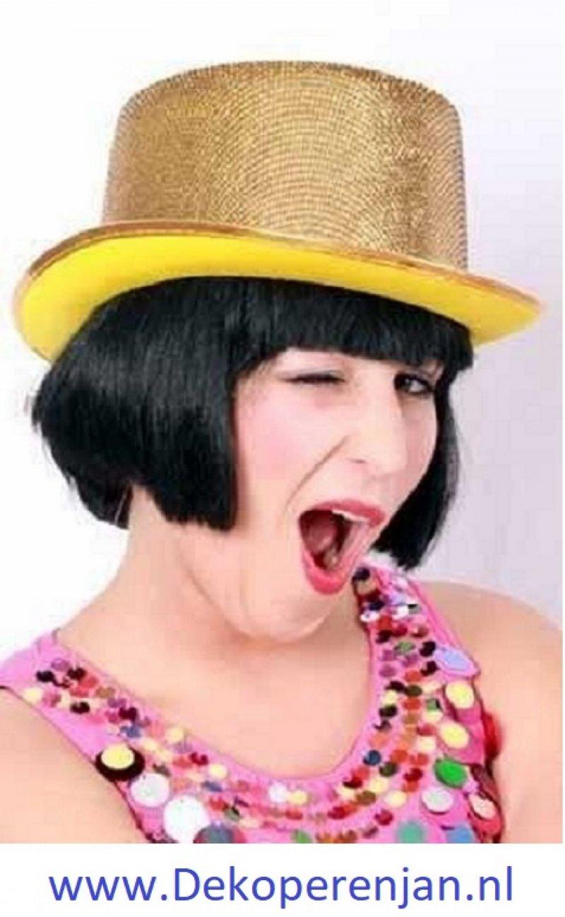 Hoge hoed luxe glitter goud