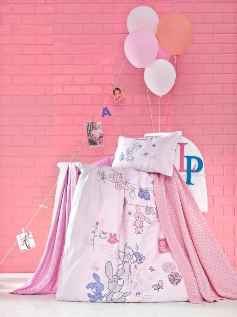 Luoca Patisca katoenen Ranforce dekbedovertrek en deken - Little Pink