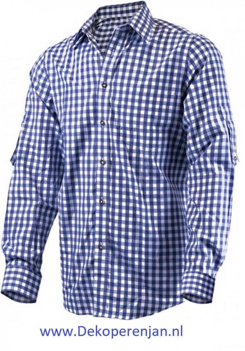 Luxe donkerblauw tiroler overhemd maat M