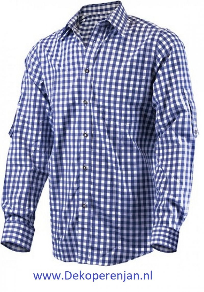 Luxe donkerblauw tiroler overhemd maat XL