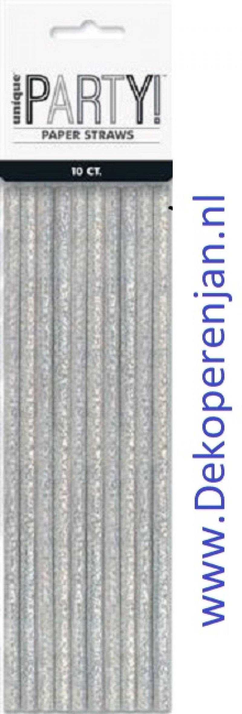 Papieren rietjes Zilver