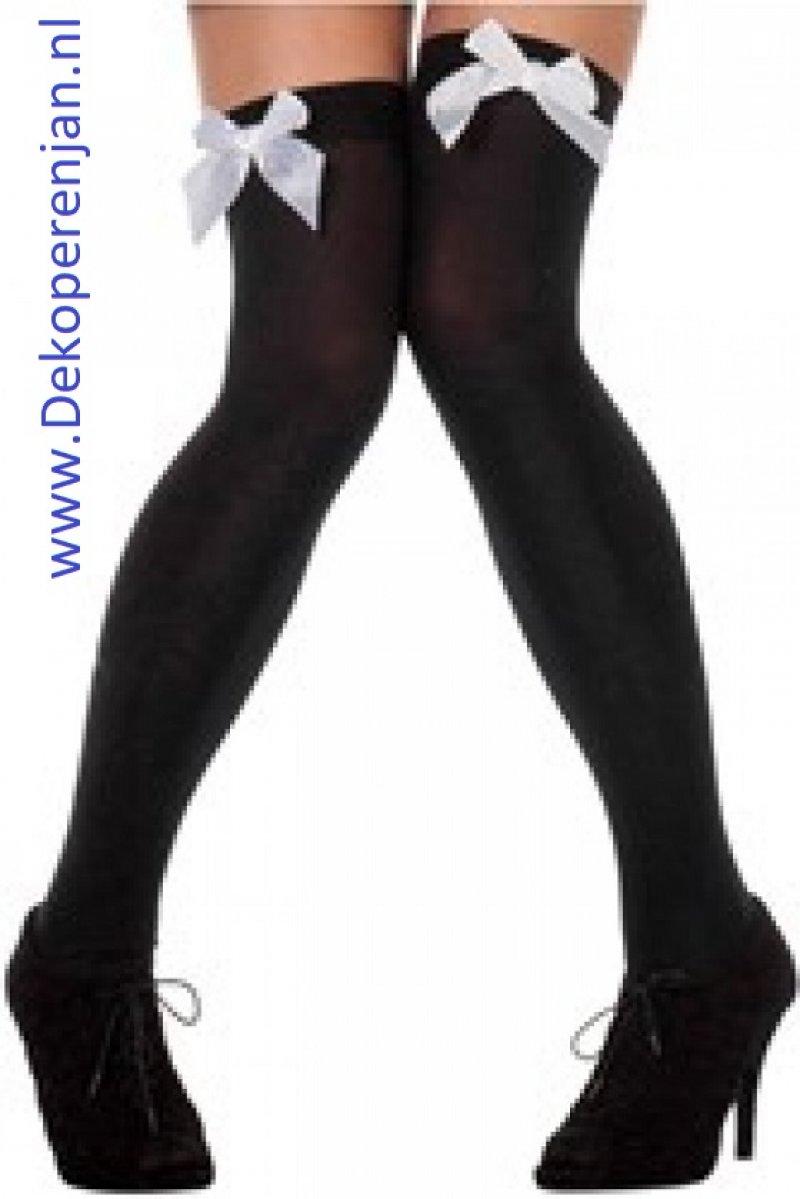 Zwarte kousen met witte strik